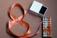 Όμορφη κορδέλλα με το δαχτυλίδι Στοκ Εικόνα