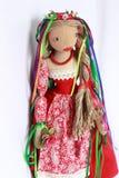Όμορφη κούκλα στο κόκκινο φόρεμα Στοκ φωτογραφία με δικαίωμα ελεύθερης χρήσης