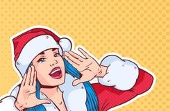 Όμορφη κραυγή κοστουμιών Santa ένδυσης κοριτσιών, Χαρούμενα Χριστούγεννα και αναδρομικό λαϊκό ύφος τέχνης έννοιας καλής χρονιάς απεικόνιση αποθεμάτων