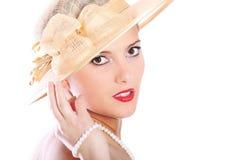 όμορφη κυρία καπέλων Στοκ Εικόνες