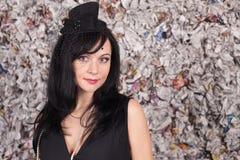 όμορφη κυρία μαύρων καπέλων Στοκ Εικόνα