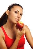 όμορφη κόκκινη γυναίκα μήλ&omega Στοκ Φωτογραφίες