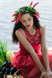 όμορφη κόκκινη γυναίκα φορεμάτων Στοκ Φωτογραφίες