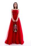 όμορφη κόκκινη γυναίκα φορεμάτων Στοκ εικόνες με δικαίωμα ελεύθερης χρήσης