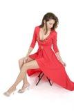 όμορφη κόκκινη γυναίκα φορεμάτων 6 Στοκ Φωτογραφία