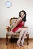 όμορφη κόκκινη γυναίκα φορ Στοκ Φωτογραφίες