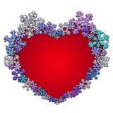 Όμορφη κόκκινη καρδιά που γίνεται με snowflakes Στοκ φωτογραφία με δικαίωμα ελεύθερης χρήσης
