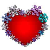 Όμορφη κόκκινη καρδιά που γίνεται με snowflakes Στοκ Εικόνες