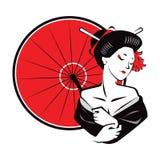 Όμορφη κόκκινη ομπρέλα ένδυσης γκείσων Japanesse σύγχρονη εξωτική Στοκ Φωτογραφία