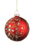 Όμορφη κόκκινη σφαίρα Χριστουγέννων με τα κρύσταλλα Στοκ Εικόνες