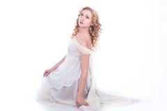 όμορφη λευκή γυναίκα φορεμάτων Στοκ Εικόνες