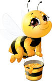 Όμορφη μέλισσα με έναν κάδο Στοκ Φωτογραφίες