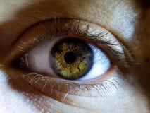 Όμορφη μακρο κινηματογράφηση σε πρώτο πλάνο που πυροβολείται των βαθιών ματιών ενός θηλυκού ανθρώπου στοκ εικόνα με δικαίωμα ελεύθερης χρήσης
