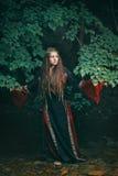 Όμορφη μεσαιωνική γυναίκα σε ένα δασικό ρεύμα Στοκ φωτογραφία με δικαίωμα ελεύθερης χρήσης