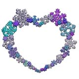 Όμορφη μορφή καρδιών φιαγμένη από snowflakes Στοκ Εικόνες