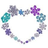 Όμορφη μορφή καρδιών φιαγμένη από snowflakes Στοκ Εικόνα