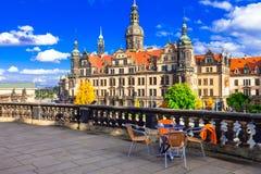 Όμορφη μπαρόκ Δρέσδη μικροί φραγμοί στην παλαιά πόλη Γερμανία στοκ εικόνα