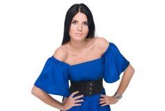 όμορφη μπλε γυναίκα πορτρέ&t Στοκ εικόνα με δικαίωμα ελεύθερης χρήσης