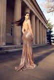 Όμορφη νέα γυναίκα με τη σκοτεινή τρίχα στο πολυτελές φόρεμα βραδιού Στοκ Φωτογραφίες