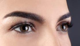 Όμορφη νέα γυναίκα με τις επεκτάσεις eyelash στοκ εικόνες