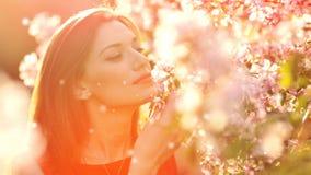Όμορφη νέα γυναίκα που μυρίζει έναν ανθίζοντας κλάδο ενός δέντρου απόθεμα βίντεο