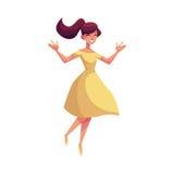 Όμορφη νέα γυναίκα που πηδά από την ευτυχία απεικόνιση αποθεμάτων