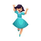 Όμορφη νέα γυναίκα που πηδά από την ευτυχία διανυσματική απεικόνιση