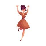 Όμορφη νέα γυναίκα που πηδά από την ευτυχία ελεύθερη απεικόνιση δικαιώματος