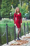 Όμορφη νέα γυναίκα που στέκεται κοντά σε μια λίμνη Στοκ Φωτογραφία