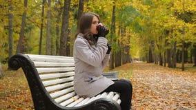Όμορφη νέα γυναίκα στην γκρίζα συνεδρίαση παλτών και μαντίλι στον πάγκο στο πάρκο φθινοπώρου φιλμ μικρού μήκους