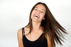 Όμορφη νέα γυναίκα χωρίς σύνθεση στο άσπρο υπόβαθρο Στοκ εικόνα με δικαίωμα ελεύθερης χρήσης