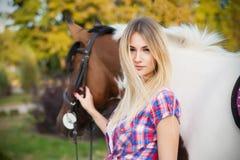 Όμορφη νέα κυρία που φορούν την μπλούζα και τζιν που οδηγούν ένα άλογο Στοκ εικόνα με δικαίωμα ελεύθερης χρήσης