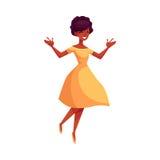 Όμορφη νέα μαύρη γυναίκα που πηδά από την ευτυχία απεικόνιση αποθεμάτων