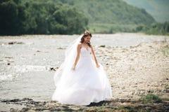Όμορφη νέα νύφη πολυτέλειας στο μακρύ άσπρο γαμήλιο φόρεμα και πέπλο που στέκεται κοντά στον ποταμό με τα βουνά στο υπόβαθρο Στοκ Εικόνες