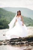 Όμορφη νέα νύφη πολυτέλειας στο μακρύ άσπρο γαμήλιο φόρεμα και πέπλο που στέκεται κοντά στον ποταμό με τα βουνά στο υπόβαθρο Στοκ Φωτογραφίες