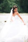Όμορφη νέα νύφη πολυτέλειας στο μακρύ άσπρο γαμήλιο φόρεμα και πέπλο που στέκεται κοντά στον ποταμό με τα βουνά στο υπόβαθρο Στοκ εικόνα με δικαίωμα ελεύθερης χρήσης