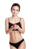 Όμορφη νέα υγιής γυναίκα με την κόκκινη Apple Στοκ Εικόνα