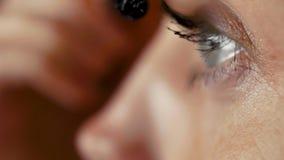 Όμορφη νέα χρωστική ουσία γυναικών eyelashes απόθεμα βίντεο
