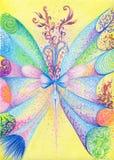 όμορφη νεράιδα πεταλούδω&nu Στρέθιμο της προσοχής με τα χρωματισμένα μολύβια σε χαρτί απεικόνιση αποθεμάτων