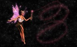 Όμορφη νεράιδα με τη μαγική απεικόνιση ράβδων Στοκ εικόνα με δικαίωμα ελεύθερης χρήσης