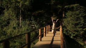 Όμορφη νύμφη νέων κοριτσιών στην ξύλινη γέφυρα πέρα από τον ποταμό στα Καρπάθια βουνά απόθεμα βίντεο