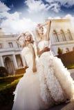 Όμορφη νύφη δύο στον κήπο Στοκ εικόνα με δικαίωμα ελεύθερης χρήσης