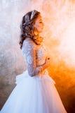 Όμορφη νύφη κοριτσιών στο πολυτελές γαμήλιο φόρεμα Πορτρέτο στο σχεδιάγραμμα, βασιλοπρεπής στάση στοκ φωτογραφίες με δικαίωμα ελεύθερης χρήσης