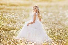 Όμορφη νύφη σε έναν τομέα Στοκ Εικόνες