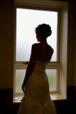 Όμορφη νύφη στη σκιαγραφία Στοκ Φωτογραφία