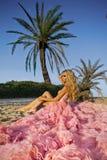 Όμορφη ξανθή γυναίκα με τα μακριά πόδια σε μια ρόδινη εσθήτα σφαιρών Στοκ εικόνες με δικαίωμα ελεύθερης χρήσης