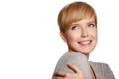 όμορφη ξανθή γυναίκα πορτρέ&tau Στοκ Εικόνες