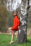 Όμορφη ξανθή γυναίκα στο κόκκινο φόρεμα στοκ εικόνα με δικαίωμα ελεύθερης χρήσης