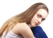 όμορφη ξανθή καυκάσια γυναίκα τριχώματος στοκ εικόνα