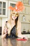 όμορφη ξανθή μάσκα Βενετός Στοκ Εικόνες